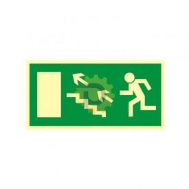Kierunek do wyjścia drogi ewakuacyjnej schodami w górę w lewo