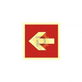 Kierunek do miejsca rozmieszczenia sprzętu pożarniczego lub urządzenia ostrzegającego (w lewo)