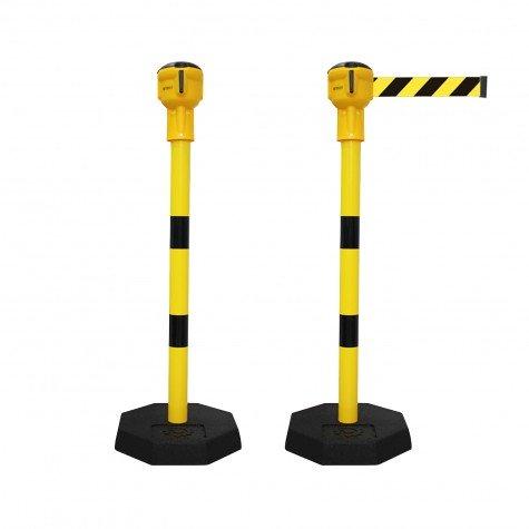 Słupki przemysłowe stalowe Skipper żółte z taśmą 9 m