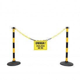 Słupki żółto-czarne z tabliczką