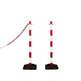 Słupek plastikowy biało-czerwony wys. 90 cm SCV (podstawa gumowa)
