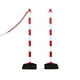 Słupek plastikowy biało-czerwony wys. 110 cm SCV (podstawa gumowa)