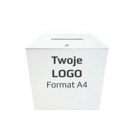 """Urna wyborcza biała """"S"""" z własnym logo"""