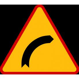 A-1 Niebezpieczny zakręt w prawo - znak drogowy ostrzegawczy