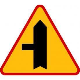 A-6c skrzyżowanie z drogą podporządkowaną występującą po lewej stronie - znak ostrzegawczy