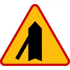 A-6e Wlot drogi jednokierunkowej z lewej strony - znak drogowy ostrzegawczy