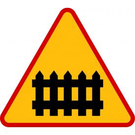 A-9 Przejazd kolejowy z zaporami - znak drogowy ostrzegawczy