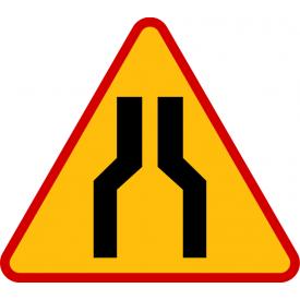 A-12a Zwężenie jezdni - dwustronne - znak drogowy ostrzegawczy