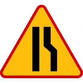 A-12b Zwężenie jezdni - prawostronne - znak drogowy ostrzegawczy