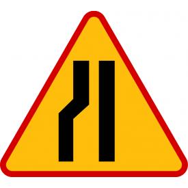 A-12c Zwężenie jezdni - lewostronne- znak drogowy ostrzegawczy