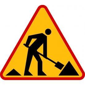 A-14 Roboty na drodze - znak drogowy ostrzegawczy