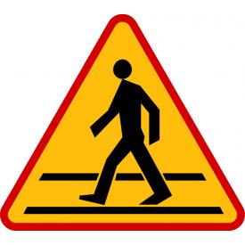 A-16 Przejście dla pieszych - znak drogowy ostrzegawczy