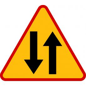 A-20 Odcinek jezdni o ruchu dwukierunkowym - znak drogowy ostrzegawczy