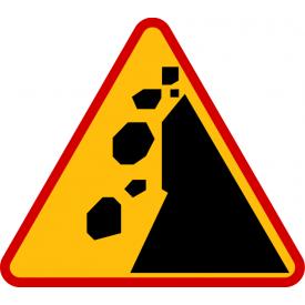 A-25 Spadające odłamki skalne - znak drogowy ostrzegawczy