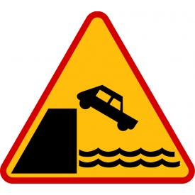A-27 Nabrzeże lub brzeg rzeki - znak drogowy ostrzegawczy
