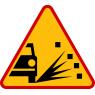 Sypki żwir - znak drogowy ostrzegawczy