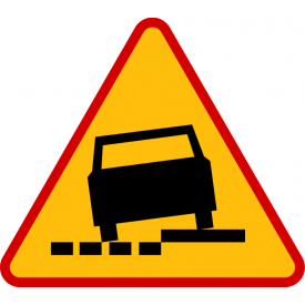 A-31a Niebezpieczne pobocze po lewej stronie - znak drogowy ostrzegawczy