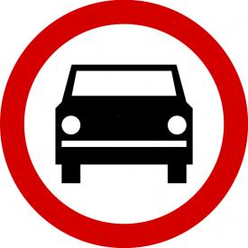 B-3 Zakaz wjazdu pojazdów silnikowych, z wyjątkiem motocykli jednośladowych - znak drogowy zakazu
