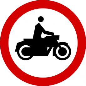 B-4 Zakaz wjazdu motocykli - znak drogowy zakazu