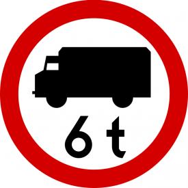 B-5a Zakaz wjazdu pojazdów o dopuszczalnej masie całkowitej większej niż określona na znaku - znak drogowy zakazu