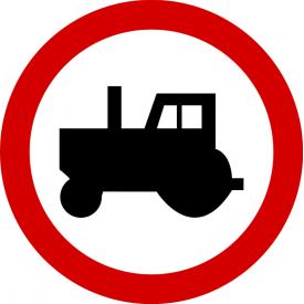 B-6 Zakaz wjazdu ciągników rolniczych - znak drogowy zakazu
