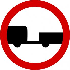 B-7 Zakaz wjazdu pojazdów silnikowych z przyczepą - znak drogowy zakazu