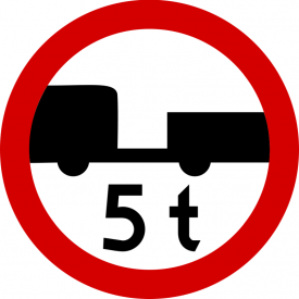 B-7a Zakaz wjazdu pojazdów silnikowych z przyczepą o masie większej niż określona na znaku - znak drogowy zakazu