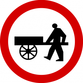 B-12 Zakaz wjazdu wózków ręcznych - znak drogowy zakazu