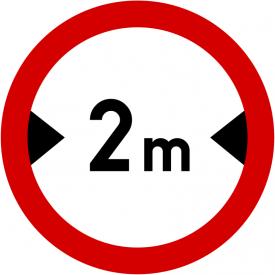 B-15 Zakaz wjazdu pojazdów o szerokości ponad ... m - znak drogowy zakazu