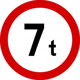 B-18 Zakaz wjazdu pojazdów o rzeczywistej masie całkowitej ponad ... t - znak drogowy zakazu