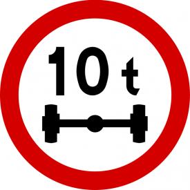 B-19 Zakaz wjazdu pojazdów o nacisku osi większym niż ... t - znak drogowy zakazu