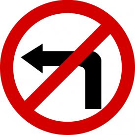 B-21 Zakaz skręcania w lewo - znak drogowy zakazu
