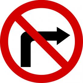 B-22 Zakaz skręcania w prawo - znak drogowy zakazu