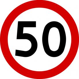 B-33 Ograniczenie prędkości - znak drogowy zakazu