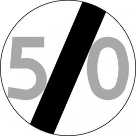 B-34 Koniec ograniczenia prędkości - znak drogowy zakazu