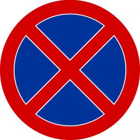 B-36 Zakaz zatrzymywania się - znak drogowy zakazu