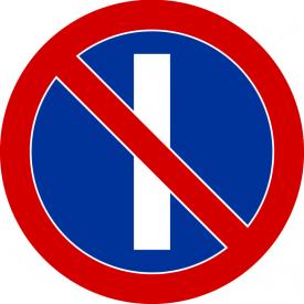 B-37 Zakaz postoju w dni nieparzyste - znak drogowy zakazu