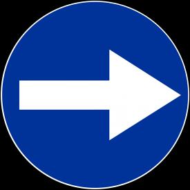 C-1 Nakaz jazdy w prawo przed znakiem - znak drogowy nakazu