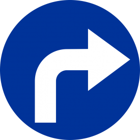 C-2 Nakaz jazdy w prawo za znakiem - znak drogowy nakazu