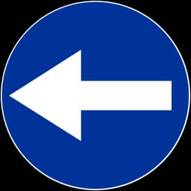 C-3 Nakaz jazdy w lewo przed znakiem - znak drogowy nakazu