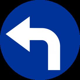 C-4 Nakaz jazdy w lewo za znakiem - znak drogowy nakazu