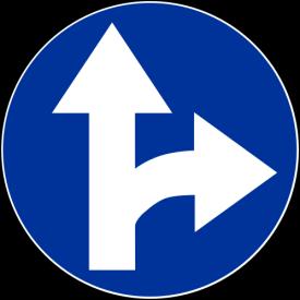 C-6 Nakaz jazdy prosto lub w prawo - znak drogowy nakazu