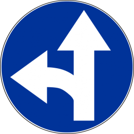 C-7 Nakaz jazdy prosto lub w lewo - znak drogowy nakazu