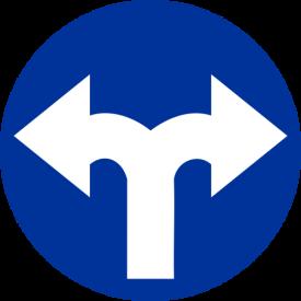 C-8 Nakaz jazdy w prawo lub w lewo - znak drogowy nakazu