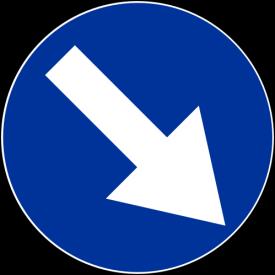 C-9 Nakaz jazdy z prawej strony znaku - znak drogowy nakazu
