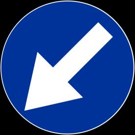 C-10 nakaz jazdy z lewej strony znaku - znak drogowy nakazu