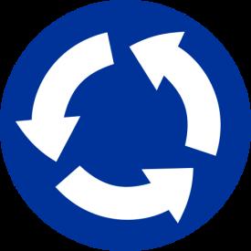 C-12 Ruch okrężny (rondo) - znak drogowy nakazu