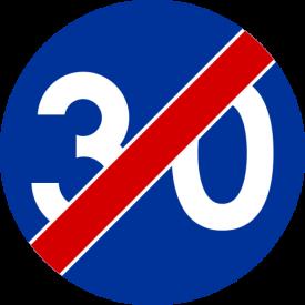 C-15 Koniec prędkości minimalnej - znak drogowy nakazu