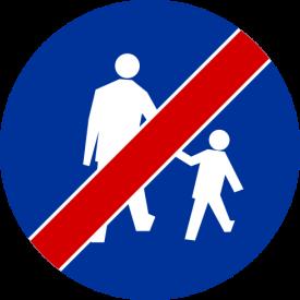C-16a Koniec drogi dla pieszych - znak drogowy nakazu