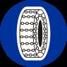 C-18 Nakaz używania łańcuchów przeciwpoślizgowych - znak drogowy nakazu